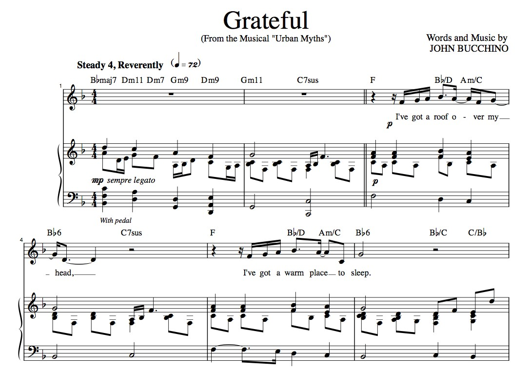 """Grateful"" [An anthem of giving thanks] in F –  Baritone (""Grateful, The Songs of John Bucchino"" CD key)"