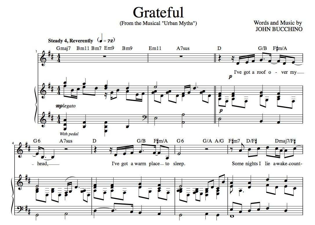 """Grateful"" [An anthem of giving thanks] in D – Baritone or Soprano"