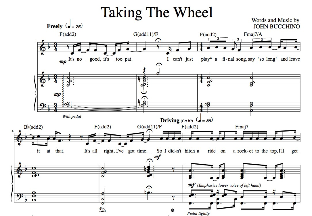"""Taking The Wheel"" [Dynamic up-tempo] in F – Baritone or Soprano"