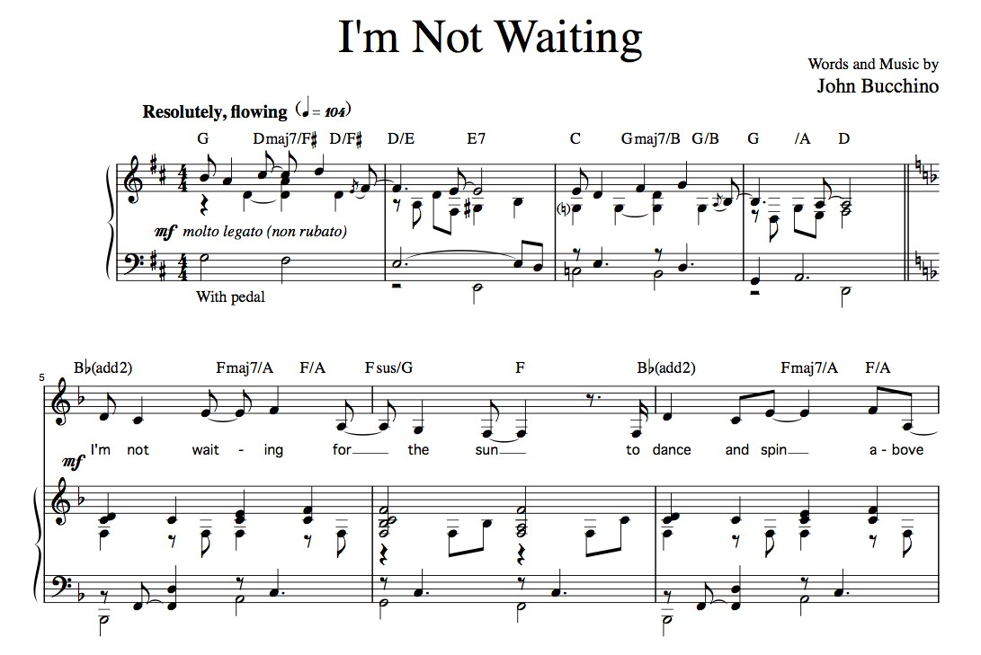 """I'm Not Waiting"" [Rueful ballad] (Solo) in D"