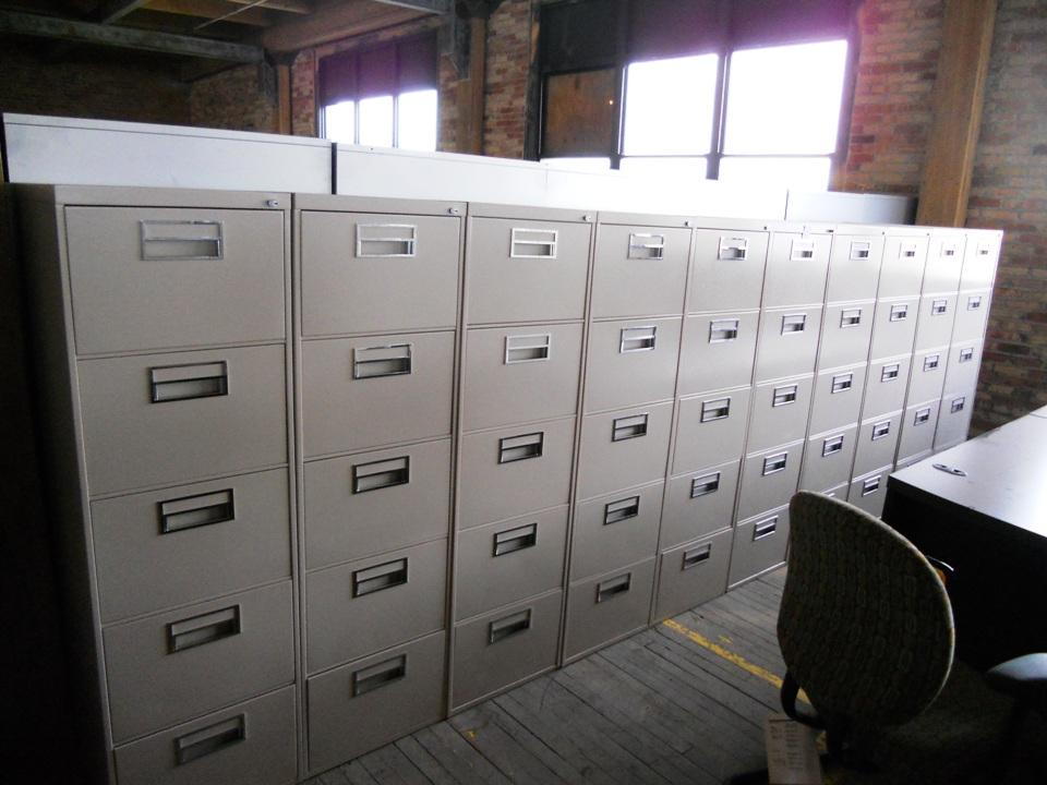 Tan 5 Drawer Legal Filing Cabinet