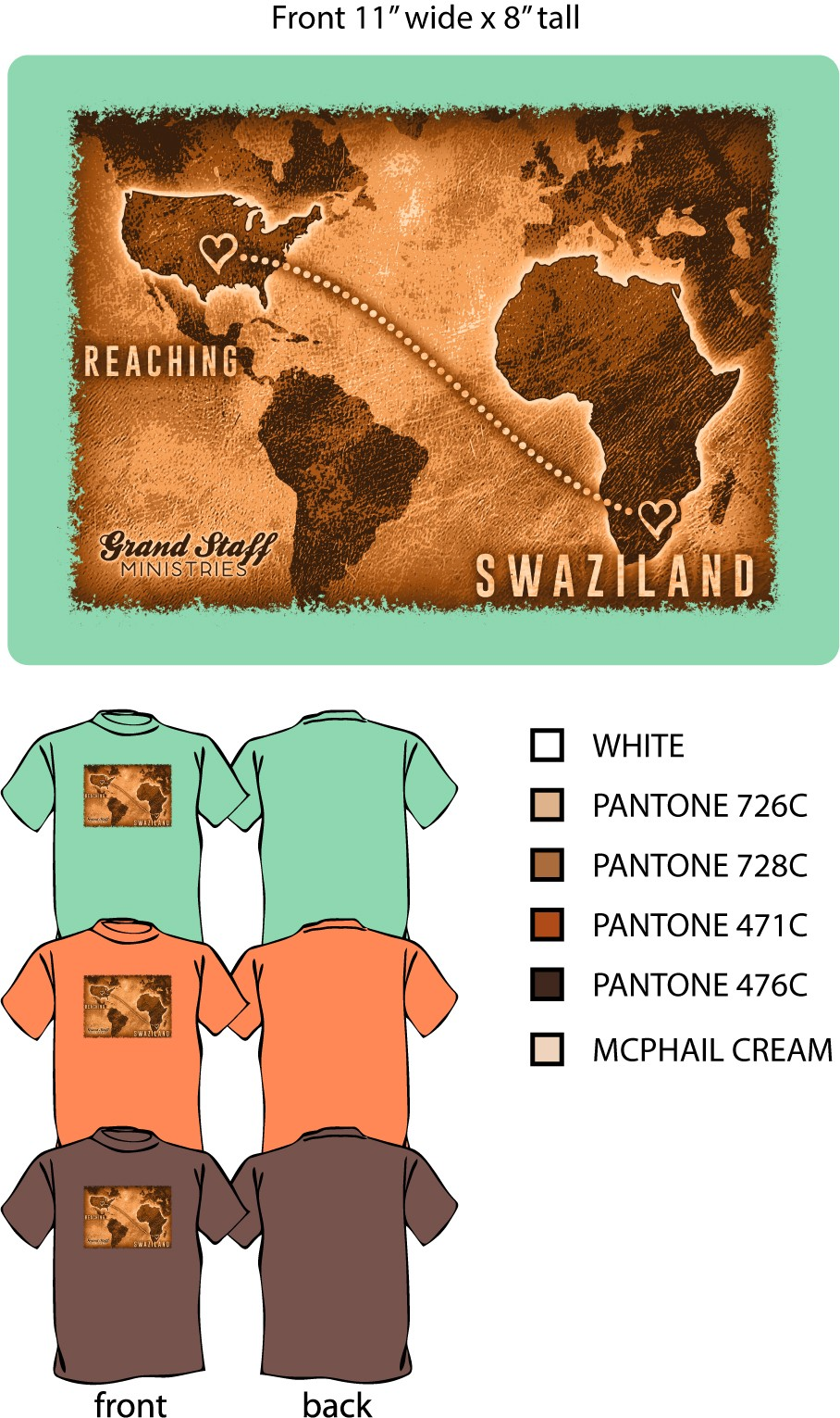 Reaching Swaziland Women's T-shirt, Peach