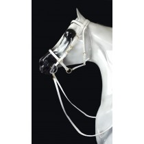 White Beta Padded Halter Bridle in Solid Brass