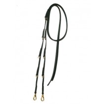 Leather German Martingale English Reins & Solid Brass Hardware and Spring Snaps.