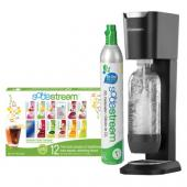 Soda Stream Genesis Black Starter Kit WITH BONUS FLAVOR SAMPLER