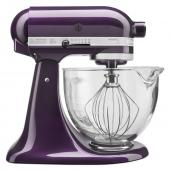 KitchenAid 5qt Stand Mixer With Glass Bowl - Plum Berry