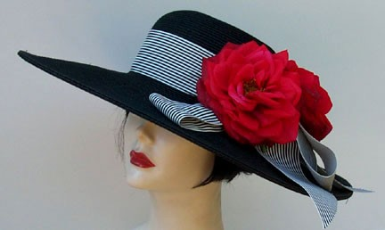 "Black 5"" Brim / Red Roses/Stripe"