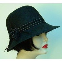 Black Cloche/Black Ribbon