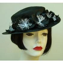 Black Petite Boater/Flower