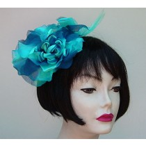 Turquoise/Blue Flower Fascinator