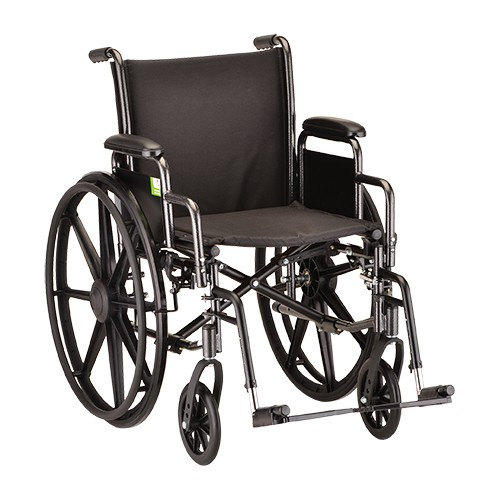 """Wheelchair Steel 18"""" Detachable Arms And Footrests"""