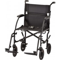 "Transport Chair 19"" Detachable Arms Lightweight Black"