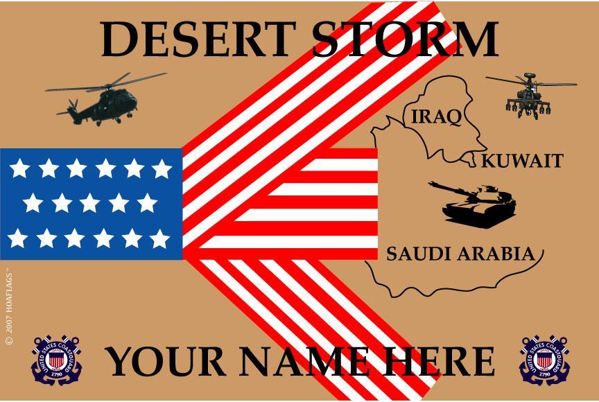 United States Personalized Coast Guard Flag- Desert Storm
