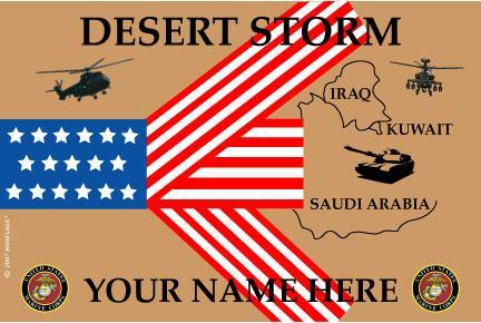 United States Personalized Marine Corps Flag-Desert Storm