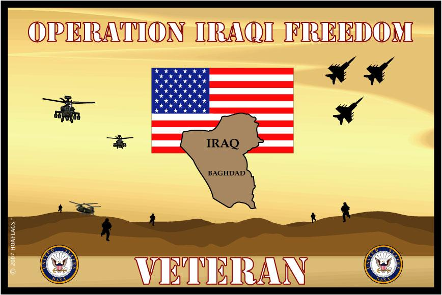 United States Navy Emblem Flag- Iraqi Freedom