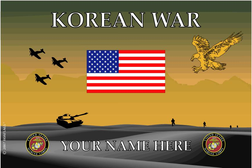 United States Marine Corps Personalized Flag-Korean War