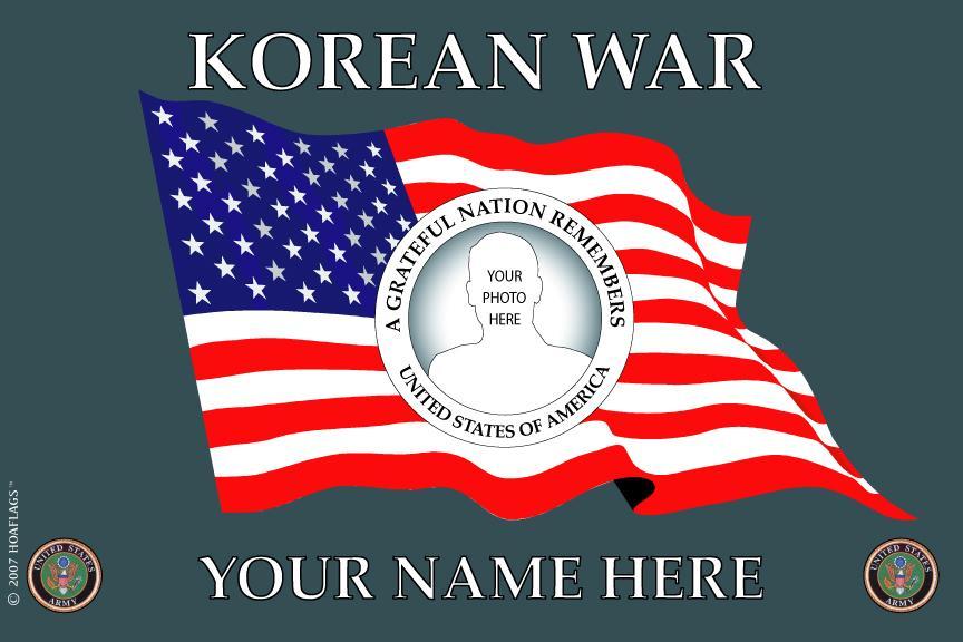 U.S Army Personalized Photo Flag-Korean War