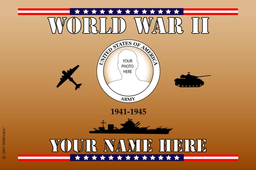 U.S Army Personalized Photo Flag-World War II