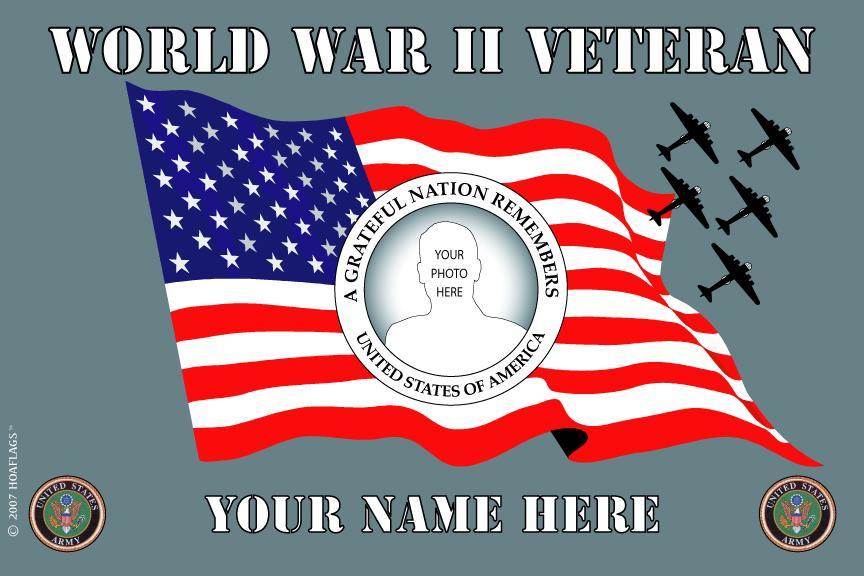 U.S Army Personalized Photo Flag-World War II