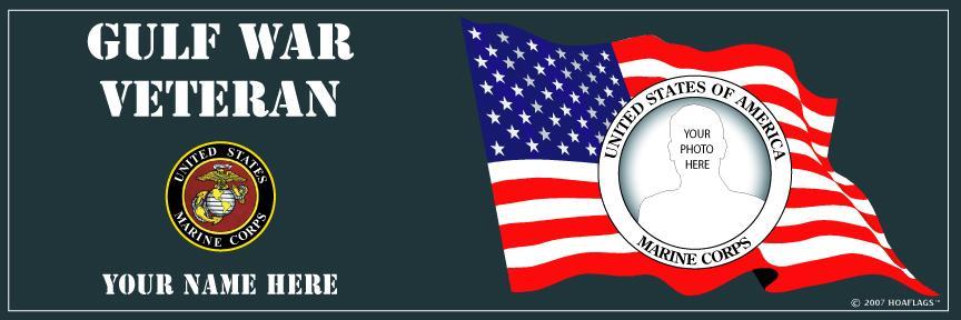 U.S. Marine Corps Personalized Photo Bumper Sticker-Gulf War