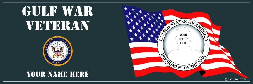 U.S. Navy Personalized Photo Bumper Sticker-Gulf War