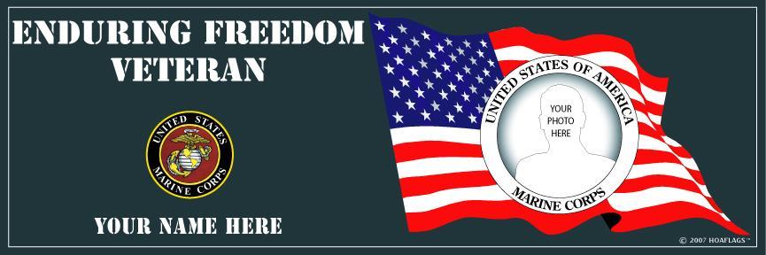 U.S Marine Corps Personalized Photo Bumper Sticker-Enduring Freedom