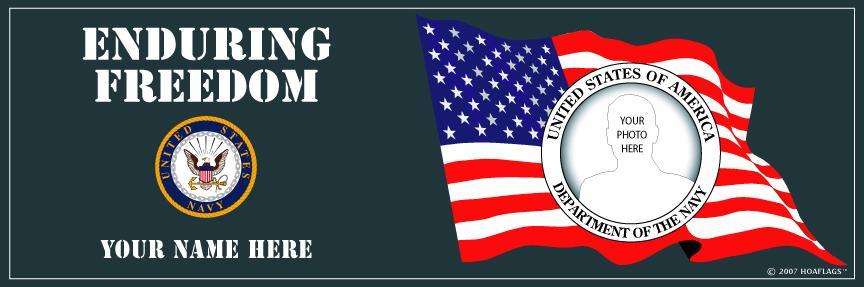 U.S. Navy Personalized Photo Bumper Sticker-Enduring Freedom