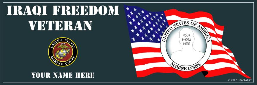 U.S. Marine Corps Personalized Photo Bumper Sticker-Iraqi Freedom