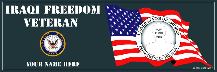 U.S. Navy Personalized Photo Bumper Sticker-Iraqi Freedom