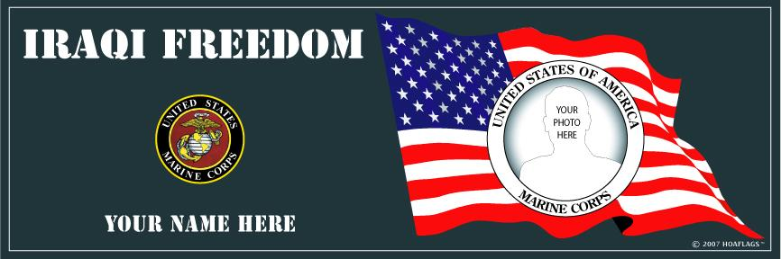 U.S. Marine Corps Personalized Photo Bumper Sticker-Iraqi Freedom
