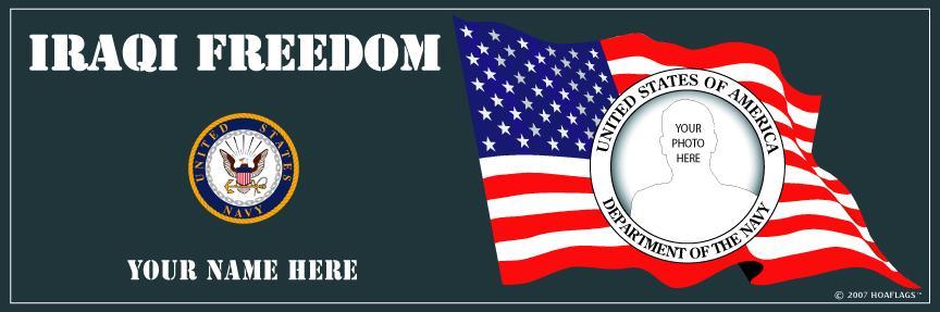 U.S. Navy Personalized Photo Bumper Sticker-Iraqi Freedom