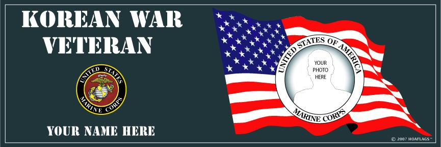 U.S. Marine Corps Personalized Photo Bumper Sticker-Korean War