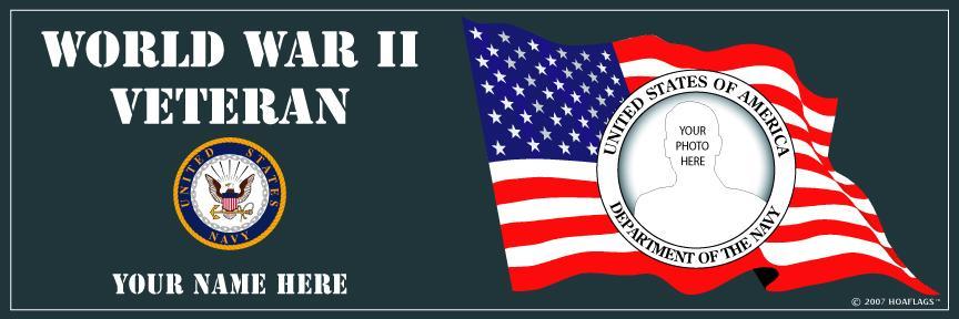 U.S. Navy Personalized Photo Bumper Sticker-World War II