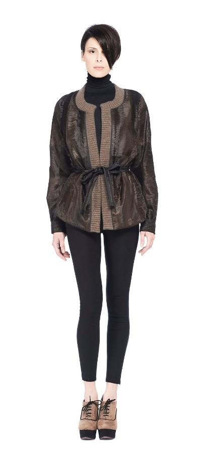 BROADTAIL JACKET BROWN STRIPE AND CASHMERE