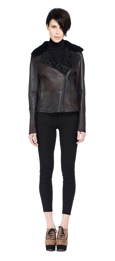 REVERSIBLE BLACK BROADTAIL JACKET WITH MINK