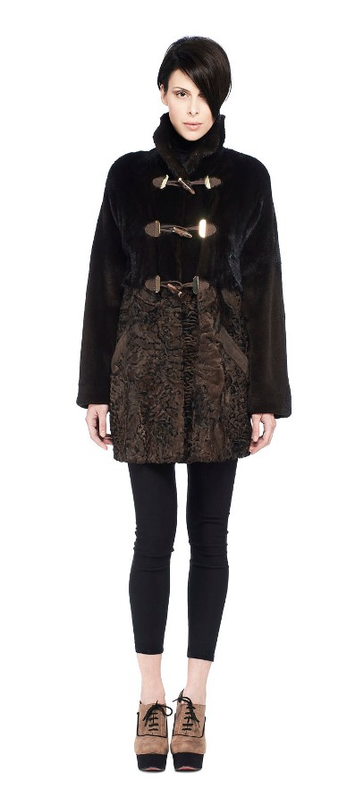 NATURAL BLACK MINK JACKET WITH BROWN PERSIAN LAMB BITON