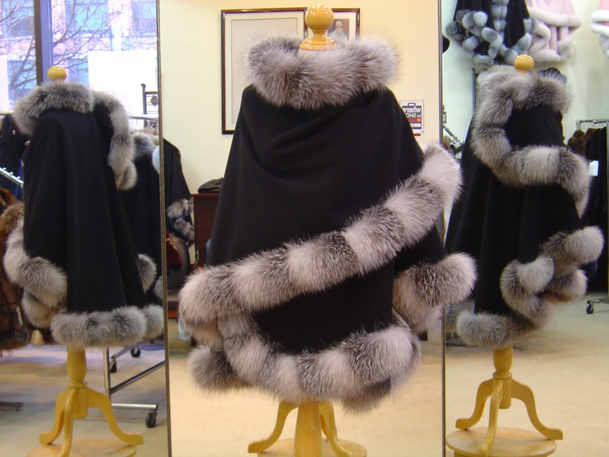 Black Cashmere Cape With Indigo Fox Fur Trim