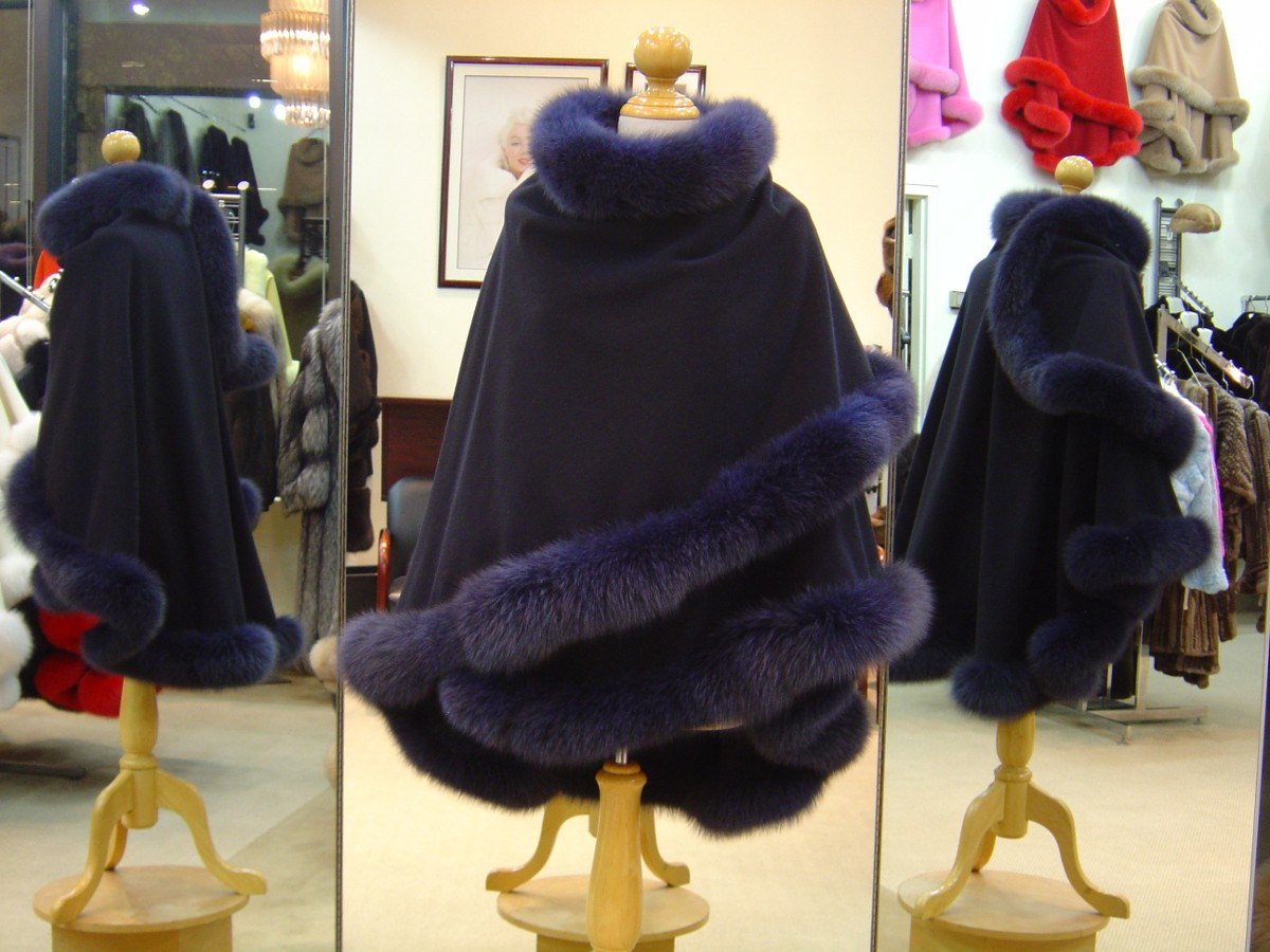 Navy Cashmere Cape With Fox Fur Trim