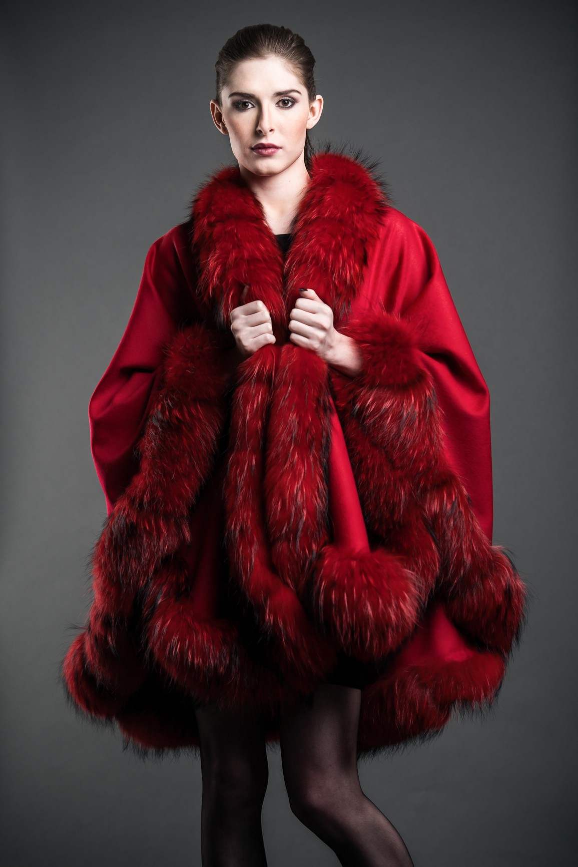 Red Cashmere Cape With Finland Fur Trim