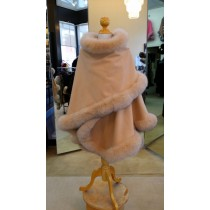 Honey Cashmere Cape With Fox Fur Trim