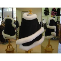 Black Cashmere Cape With White Fox Fur Trim