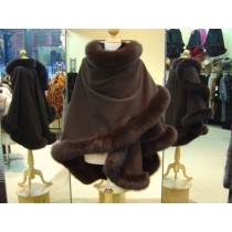 Chocolate Brown Cashmere Cape With Fox Fur Trim