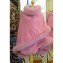 Pink Cashmere Cape With Fox Fur Trim