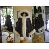 Charcoal Grey Cashmere Cape/Hood With White Fox Fur Trim