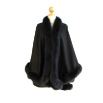 Black Cashmere Cape With Fox Fur Trim