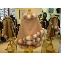Camel Cashmere Cape With Crystal Fox Fur Trim