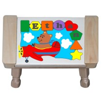 Personalized Name Bear Plane Theme Puzzle Stool (FREE SHIPPING)