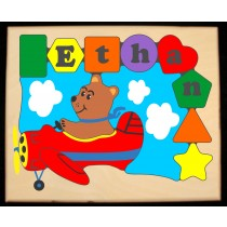 Personalized Name Bear Plane Theme Puzzle (FREE SHIPPING)