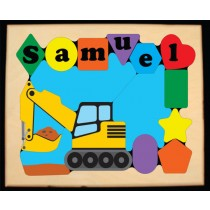 Personalized Name Construction Backhoe Digger Theme Puzzle (FREE SHIPPING)