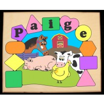 Personalized Name Farm Animals Theme Puzzle - Pastel (FREE SHIPPING)